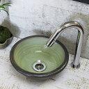 洗面ボール 洗面ボウル セット 小さい 陶器 手洗い鉢 手洗い器 手洗器 洗面台 おしゃれ 手洗ボウル 和風 信楽焼 緑ガラス(ミニ) tr-1080