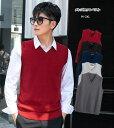 メンズニットベスト メンズ ニットセーター ノースリーブセーター 無地 5色 メンズファッション 秋物 秋服 韓国風