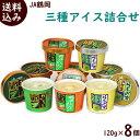 アイス【送料無料】JA鶴岡【三種アイス詰合】120ml×8個 (だだちゃ豆 2個 、鶴姫レッドメロン 3個 、ら・ふらんす 3個