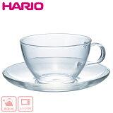 【自社便】HARIO(ハリオ) 耐熱ティーカップ・ソーサー      ☆