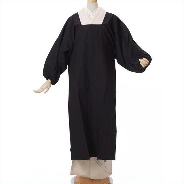割烹着 国産 着物用 和装用 ロングかっぽう着 120cmロング丈 水屋着 No.12 厚手の黒色