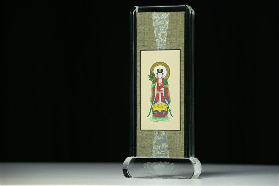 仏具■中山鬼子母神 日蓮宗脇掛 スタンド 掛け軸■クリスタル ガラス 小