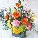 【CT触媒】米寿のお祝いにビタミンカラーのユリとバラのますます元気なアレンジ【敬老の日特集】r【シルクフラワー】【楽ギフ_包装】【造花】