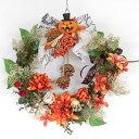 造花 ダリアやバラのハロウィンパンプキンのリース シルクフラワー CT触媒 松ぼっくり かぼちゃ