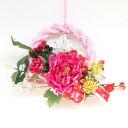 【CT触媒】ピオニーとマムのピンクのお正月飾りリース【しめ縄 しめ飾り 玄関飾り】【シルクフラワー】【楽ギフ_包装】【造花】