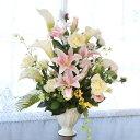 造花 カサブランカとカラーの華やかなアレンジ シルクフラワー CT触媒