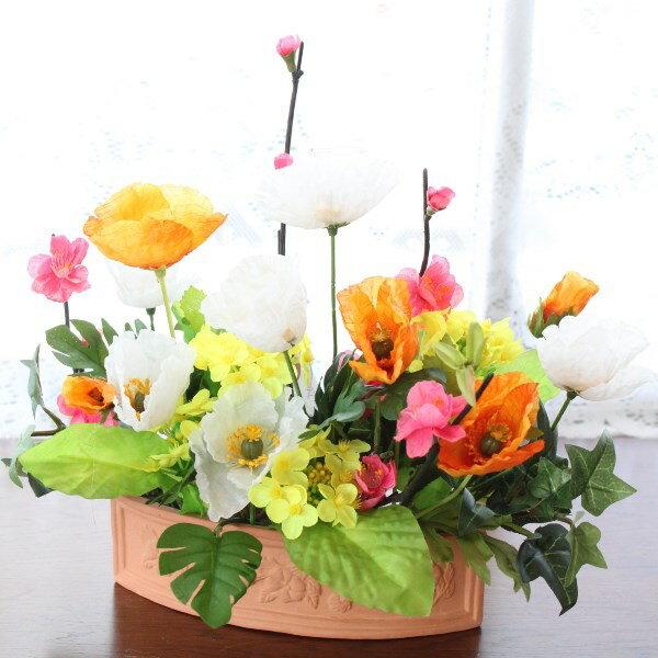 造花 チューリップと菜の花の春のアレンジ シルクフラワー CT触媒