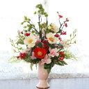【CT触媒】ランや椿の華やかなお正月のアレンジ【しめ縄 しめ飾り 玄関飾り 床の間 シルクフラワー 造花】【楽ギフ_包装】