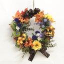 造花 リボンが華やかなハロウィンパンプキンリース シルクフラワー CT触媒 かぼちゃ