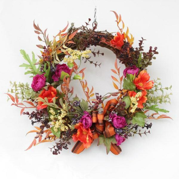 造花 ペーパーベリーとコスモスの秋色リース シルクフラワー CT触媒