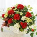 造花 ビバーナムと赤いカーネーションのシックなリボン付きアレ...