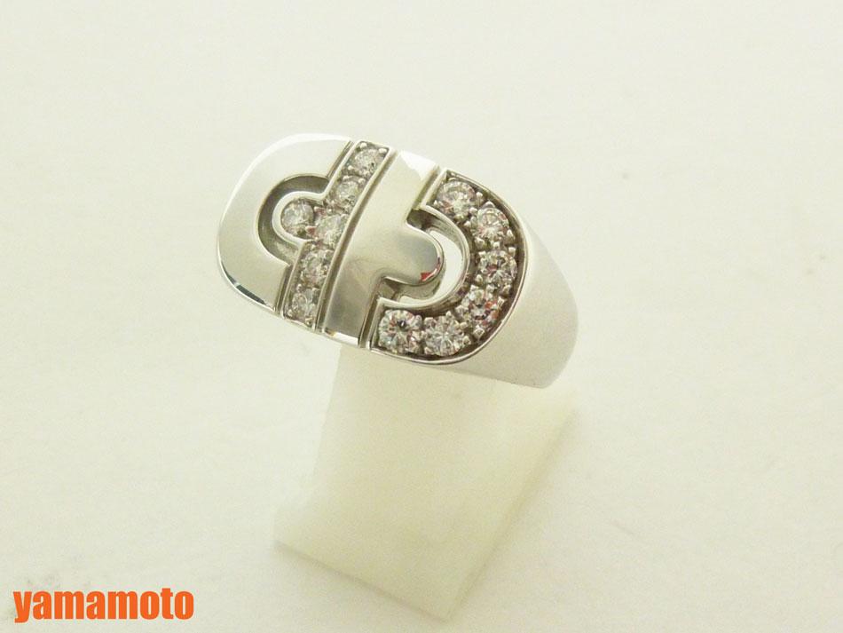 【送料無料】ブルガリ パレンテシ リング 指輪 ダイヤ 750 K18 WG ホワイトゴールド 美品  #9 美品【】 【適用されました】