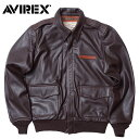 AVIREX #6181061 A-2 プレーン レザー ジャケット メンズ 55ブラウン M-2XL【TKA】