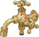 蛇口 水栓金具 プレーンフォーセット ツイン ゴールド ユニソン 泡沫アダプター・ホース用アダプター付