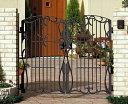 【花や緑をモチーフにした綺麗なライン。優美なシルエットのアイアン門扉、フェンスとのペアも】門扉 鋳物 フェアル1型 両開き 門柱タイプ 0710 南欧風 アイアン 三協立山