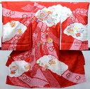 お宮参り 産着 正絹 のしめ 女児 着物 高級 絞り 柄刺繍 綸子 赤地 新品(株)安田屋 d423936272