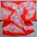 お宮参り産着 女児 女の子 正絹 のしめ 祝着 着物 一つ身 初着 疋田鹿子模様柄 新品 (株)安田屋 x440497240