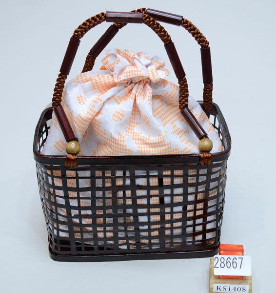 かごバッグ 竹かご 巾着付き 中サイズ ポリエステル巾着取り外し可能 新品 (株)安田屋 q216937376