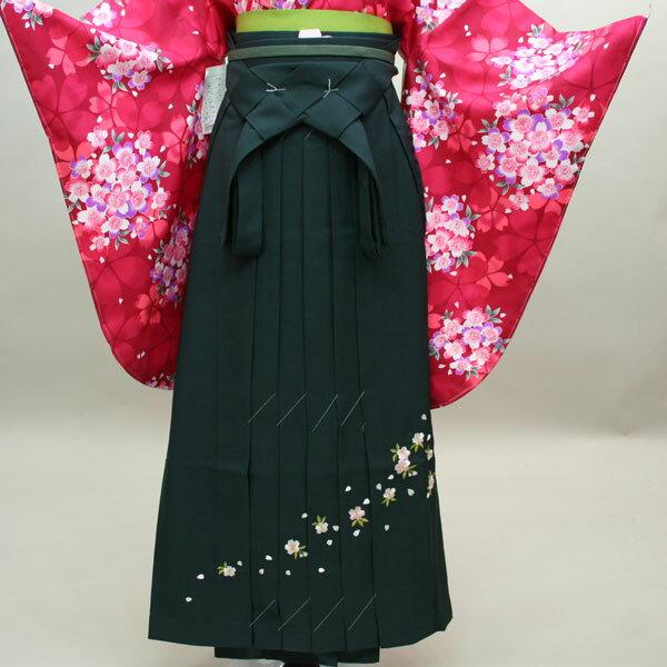 袴 刺繍 無地 単品 濃緑地 袴下95cm 適合身長160-170cm 卒業式に 新品(株)安田屋 c005 n203966085