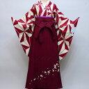 二尺袖着物袴フルセット 幾何学模様 着物生地は日本製 縫製と袴は海外 着物丈は着付けし易いショート丈 卒業式に 新品(株)安田屋 r36..