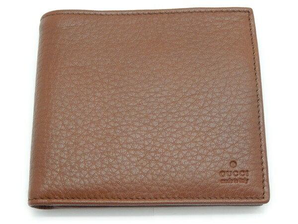 未使用【】グッチ GUCCI 二つ折り財布 レザー ブラウン 04848  Y2061911 【在庫限り】