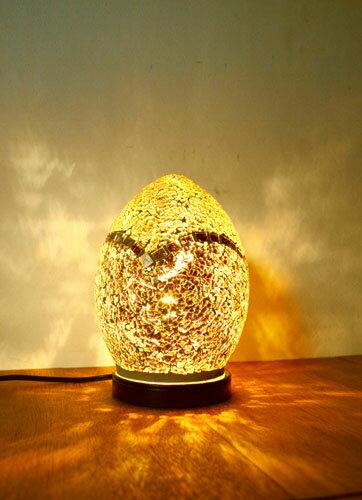 間接照明 スタンドライト (モザイクガラスエッグランプ(全3色)) アジアン照明 インド おしゃれ テーブルスタンド 卓上 エスニック リゾート
