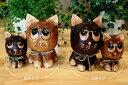 アジアン バリ 雑貨 (ウッドブラウンネコ親子セット(A B)) おしゃれ インテリア エスニック 置物 オブジェ 猫