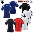 【左片胸2重ネーム刺繍】 デサント ベースボールシャツ 吸汗 速乾 ストレッチ プロ球団採用モデル DB116