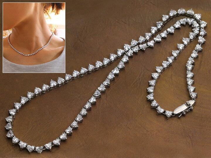 合計16.152ct 最高品質 すべてハートダイヤモンド PT プラチナ テニスネックレス すべてDカラー SI平均の透明度高きハートシェイプ 1点もの/Ycollectionワイコレクション/送料無料