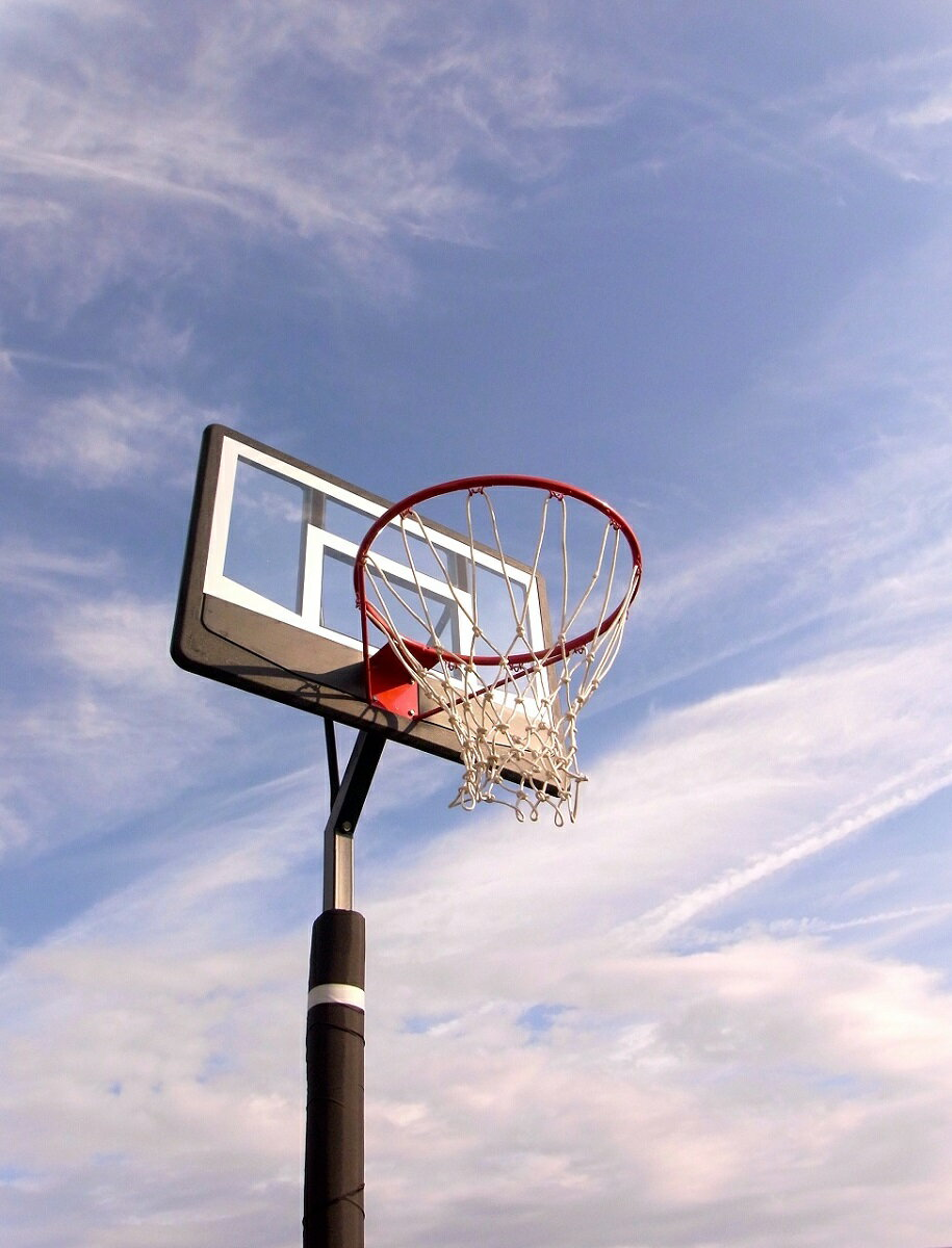 レイアップの練習もOK 【送料無料】 透明ポリカーボネート、ポールパッド付、オレンジリング、極太ネット バスケットゴール BG-270BK-PD