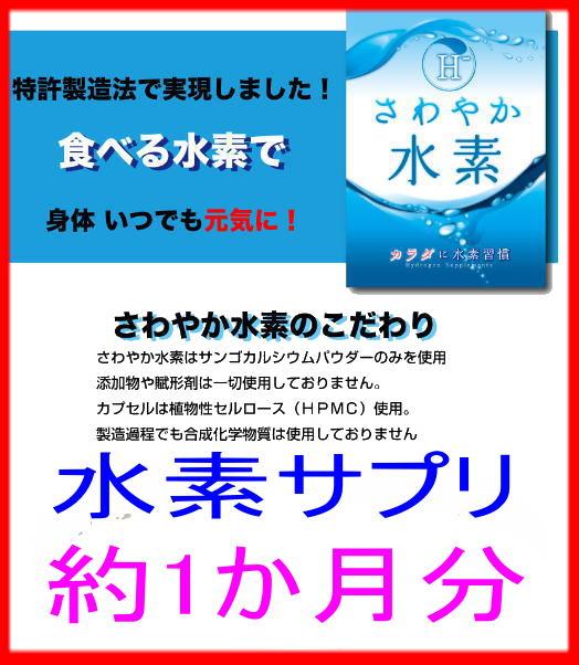 水素サプリ 水素サプリメント 水素カプセル 特許製法第4404657号使用 「さわやか水素60粒」約1か月分 日本製! 純度にこだわった水素サプリメントネコポス送料無料!