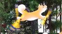 手造り 羽根つき風見鶏 柴犬 オーナメント かざぐるま 風車 まわる クルクル 回転 置物 ガーデンファニチャー 癒し なごみ エクステリア 木製 がんこ かわいい