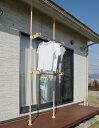 エクステリアポール ウッド 2.0m〜3.4m 伸縮式 (38687)屋外用突っ張りポール物干しに園芸に何でもOK!別売りのパーツを組み合わせて..