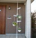 エクステリアポール ホワイト 2.0m〜3.4m 伸縮式(39044)屋外用突っ張りポール物干しに園芸に何でもOK!別売りのパーツを組み合わせて..