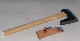 【頑張って送料無料!】越後三条打刃物 水野製作所作割込仮枠鉞(まさかり)750g 白樫450mm 皮サック入