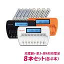 送料無料 単3 単4ニッケル水素充電池用充電器(8本タイプ)単3 単4電池(NH-AA2100ARBC NH-AAA900ARBC)各4本 8本セット放電機能&充電状態が一目で分かる残量表示機能付。車内でも充電できるシガーソケットアダプター付。