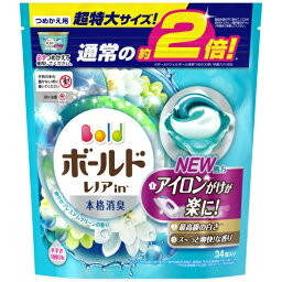 P&G <strong>ボールド</strong> <strong>レノア</strong>in 洗濯洗剤 ジェルボール3D 爽やかプレミアムクリーンの香り 詰替用 超特大 (34個入)