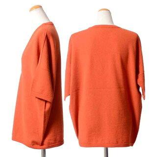 クリスチャンワイナンツ(ChristianWIJNANTS)Vネック半袖セーターヴァージンウールオレンジ