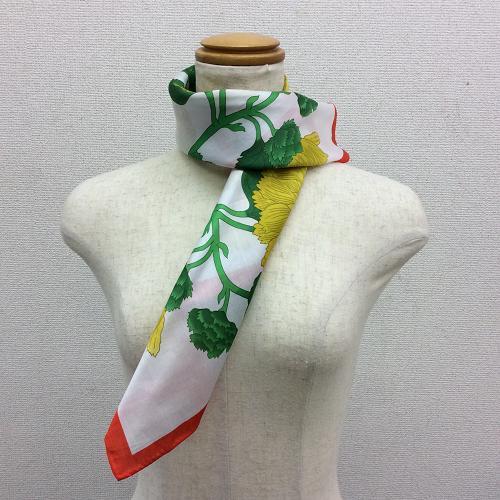 横浜で染めたコットン100%プチスカーフヒマワリ柄ホワイト/レッド