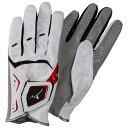 ミズノ 手袋W-GRIP LG(両手)(パークゴルフ)[ユニセックス] 62&nbspホワイト×レッド(c3jgp90362)