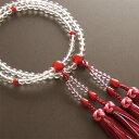 【送料無料】女性用二輪数珠 本水晶 瑪瑙仕立 正絹銀花花かがり房
