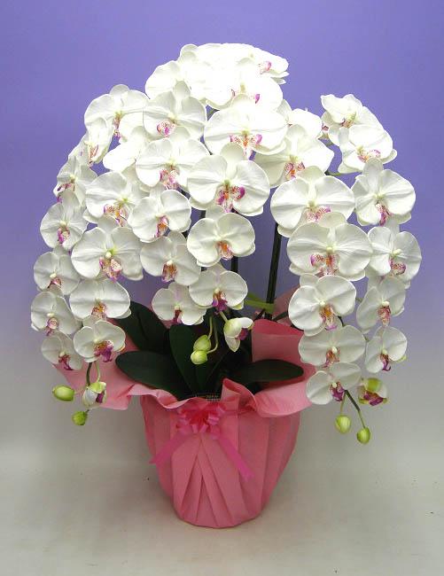 【光触媒】【造花】胡蝶蘭 大輪 特大 白赤(セミアルバ) 3本立ち送料無料 本物そっくりで生花と間違うほど精巧です。