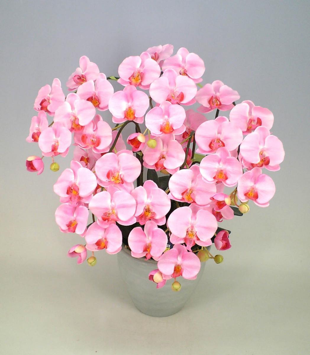 【光触媒】【造花】胡蝶蘭 大輪 薄ピンク M 5本立ち送料無料 本物そっくりで生花と間違うほど精巧です。