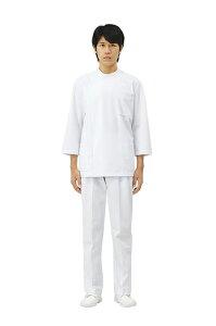 白衣 男性用、肌に触れる裏面に綿を使用敏感肌の方にもおすすめ男子ドクターケーシー型白衣8分袖《ニット素材》ホワイト72-701【】