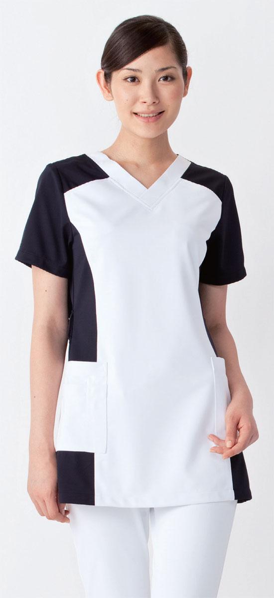 白衣 女性用/スクラブ白衣ホワイト×ネイビー01...の商品画像