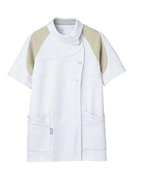 【送料無料】アシックス[4D]カッティング/レディスジャケット半袖/ホワイト×ベージュ