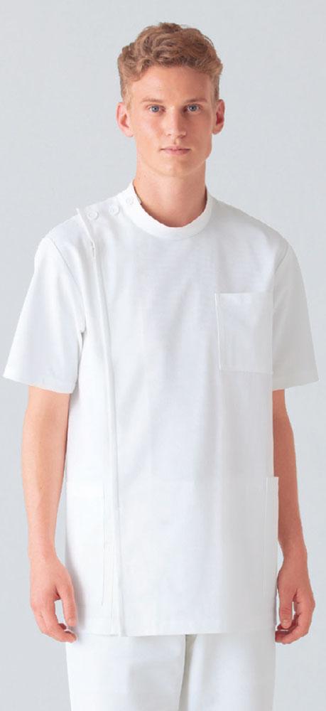 白衣 ニット素材だからお手入れ簡単男性用ケーシー型ドクター医務衣/半袖/オフホワイト253-10【】