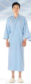 【即日発送可】患者衣ガウン/ブルーストライプ病衣、寝巻き、寝間着、院内着、浴衣、パジャマ、検診、男性用、女性用、メンズ、レディース、敬老の日、入院、介護