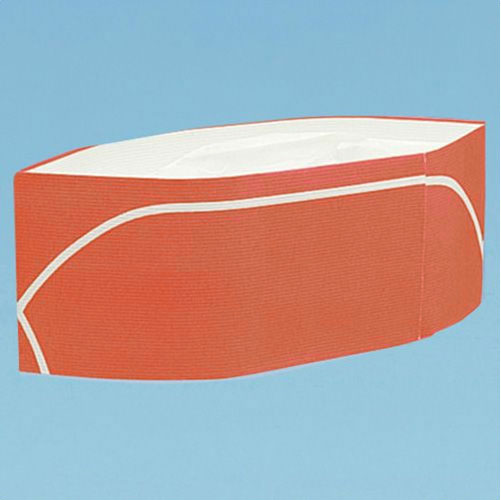 【ラッキーシール対応】紙帽子/クリーンキャップM型/GI帽子型/オレンジ×白ライン/50枚入りY-001/06006【】
