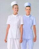 【】袖口と衿にパイピングのアクセント/女性用ナースウエア白衣上衣/ホワイト(写真左)